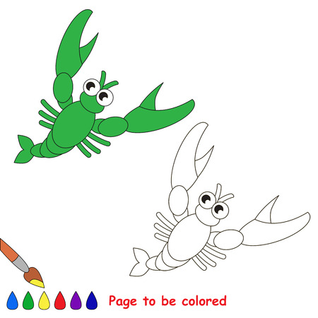crawfish: Crawfish in vector cartoon to be colored. Coloring book for children.