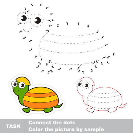 dots: Turtle in vector to be traced by numbers. Vector dot to dot visual game. Connect dots for numbers. Illustration