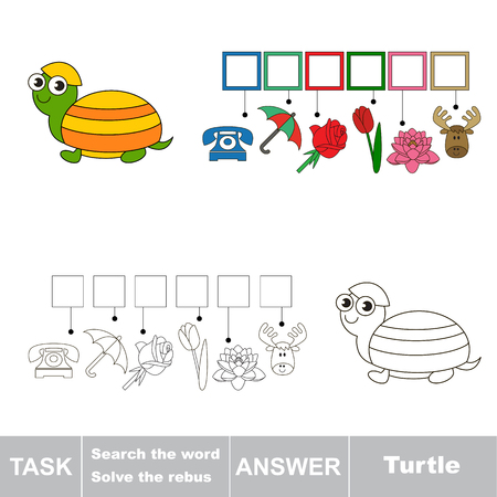 solve: Vector rebus game. Task and answer. Solve the rebus and find the word Turtle Illustration