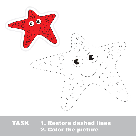 restore: Starfish in vector to be traced. Restore dashed line and color the picture. Illustration