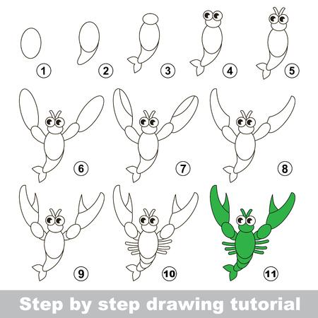 dessin: Etape par �tape dessin tutoriel. jeu visuel pour les enfants. Comment dessiner une �crevisse Illustration