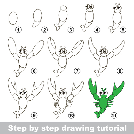 crawfish: Step by step drawing tutorial. Visual game for kids. How to draw a Crayfish