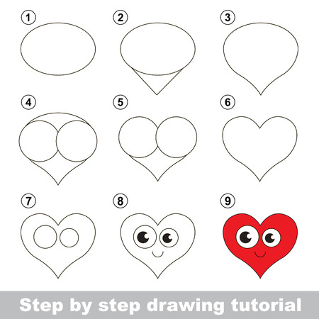 how to: Step by step drawing tutorial. Visual game for kids. How to draw a Heart