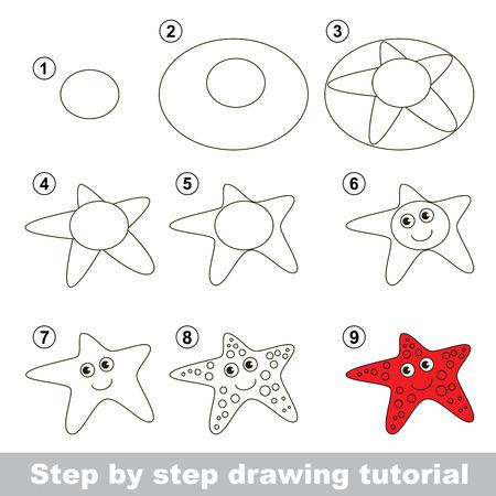 stella marina: Passo dopo passo disegno tutorial. gioco visivo per i bambini. Come disegnare una stella marina Vettoriali