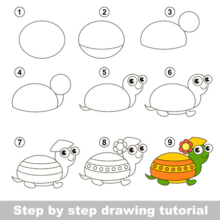 Step by step drawing tutorial. Visual game for kids. How to draw a Turtle 版權商用圖片 - 50966905
