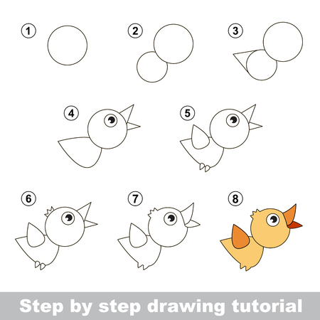 Step by step drawing tutorial. Visual game for kids. How to draw a Bird Ilustração