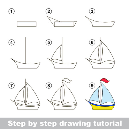 Step by step drawing tutorial. Visual game for kids. How to draw a Boat
