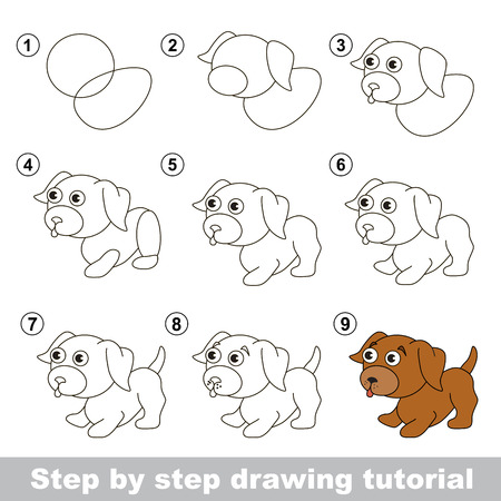 Step by step drawing tutorial. Visual game for kids. How to draw a Little puppy