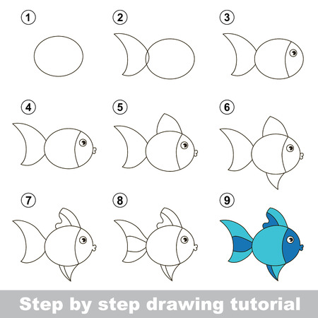 Step by step drawing tutorial. Visual game for kids. How to draw a Cute Fish Illustration