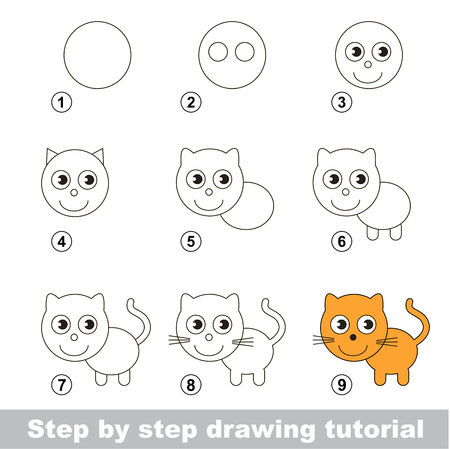 Step by step drawing tutorial. Visual game for kids. How to draw a Small Kitten Illustration