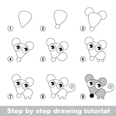 dessin au trait: Etape par étape dessin tutoriel. jeu visuel pour les enfants. Comment dessiner une petite souris