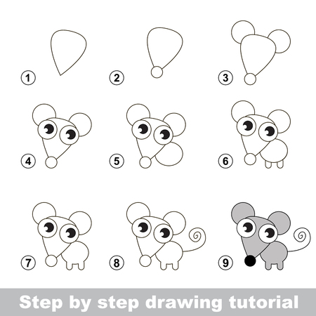 Step by step drawing tutorial. Visual game for kids. How to draw a Little Mouse Illustration