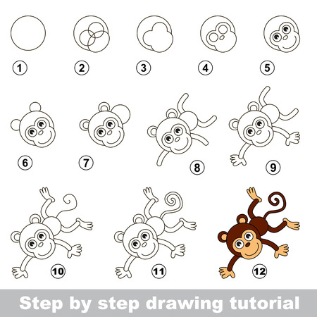 Step by step drawing tutorial. Visual game for kids. How to draw a Funny Monkey