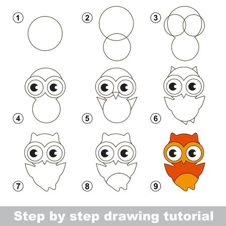 dibujo: Paso a paso tutorial de dibujo. juego visual para los niños. Cómo dibujar un búho lindo Vectores