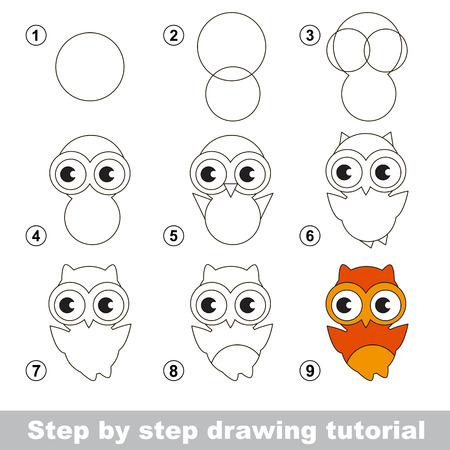 Step by step drawing tutorial. Visual game for kids. How to draw a Cute Owl Ilustração