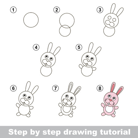 Step by step drawing tutorial. Visual game for kids. How to draw a Little Rabbit