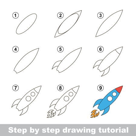 Step by step drawing tutorial. Visual game for kids. How to draw a Toy Rocket