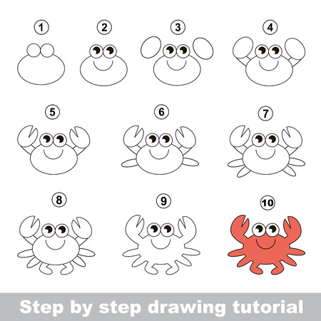 Cute crab. Step by step drawing tutorial. Illustration