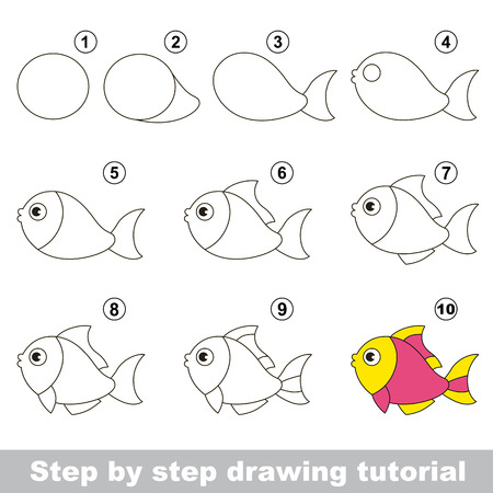 Funny fish. Step by step drawing tutorial. Vetores