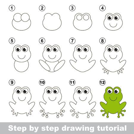 tutorial: Green frog. Step by step drawing tutorial.