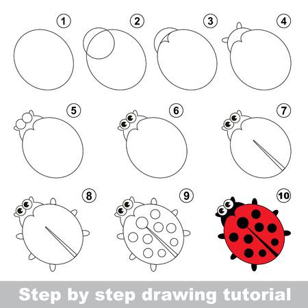 tutorial: Red ladybug. Step by step drawing tutorial.