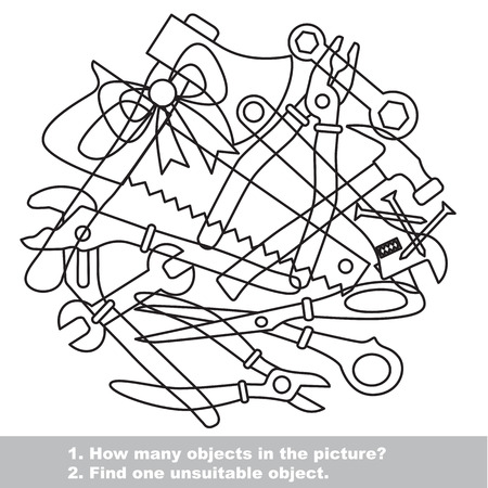 mishmash: Tools mishmash set in vector outlined to be colored.  Find all hidden objects on the picture. Illustration