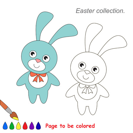 Blue Bunny. Coloring book for children. Educational kid game. Vector Illustration