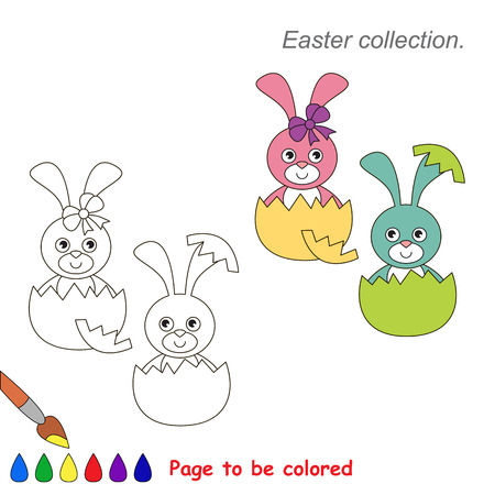 Pink and Blue Bunny. Coloring book for children. Educational kid game.