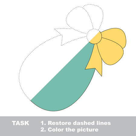 Easter egg in vector colorful to be traced. Restore dashed line and color the picture. Visual game for kids. Worksheet to be colored.