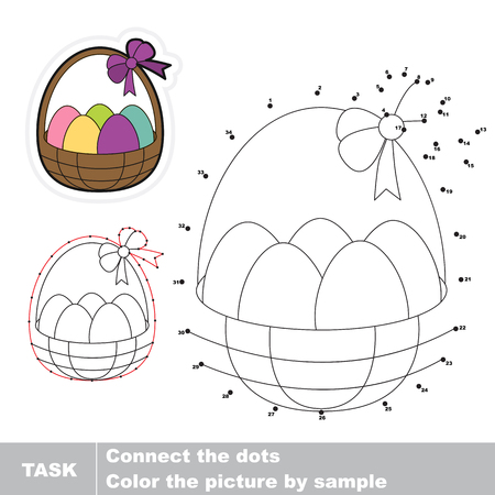 joining the dots: Busket with eggs in vector to be traced by numbers. Vector visual game.