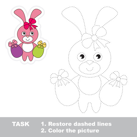 dashed: Easter Bunny in vector to be traced. Restore dashed line and color the picture.