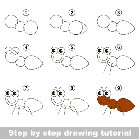 Visual game for kids. How to draw an Ant