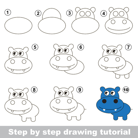 Visual game for kids. How to draw a Cute Hippo