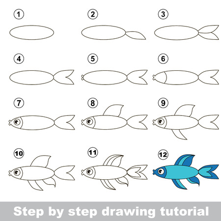 game fish: Visual game for kids. How to draw a Blue Fish Illustration