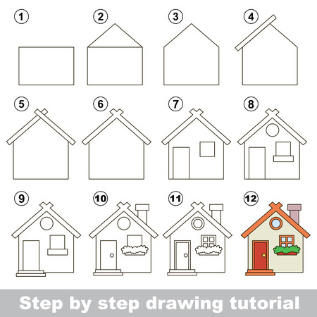 toy house: Visual game for kids. How to draw a Toy House Illustration