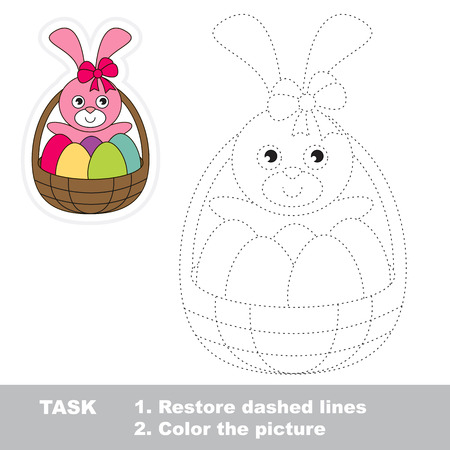 dashed line: Pink Easter Bunny in vector to be traced. Restore dashed line and color the picture.