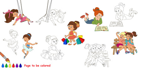 big girls: Happy little girls big coloring book. Colorless and colorful set in vector.
