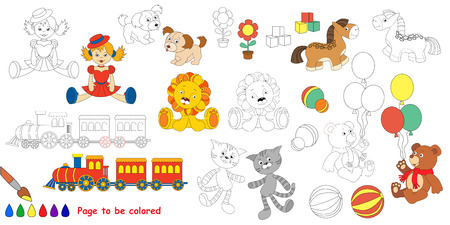 waggon: Kid toys. Big coloring book. Colorless and colorful set in vector.
