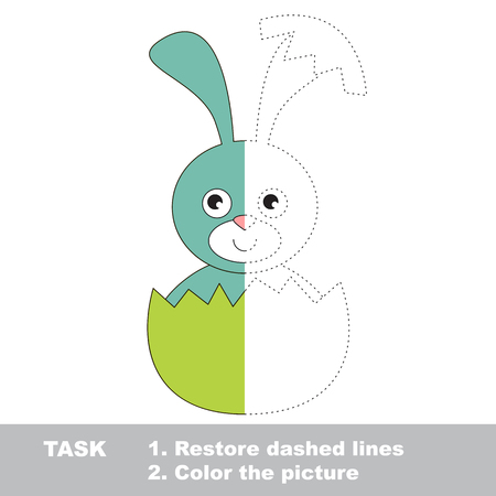broken eggs: Blue Bunny in vector colorful to be traced. Restore dashed line and color the picture. Visual game for kids. Worksheet to be colored.