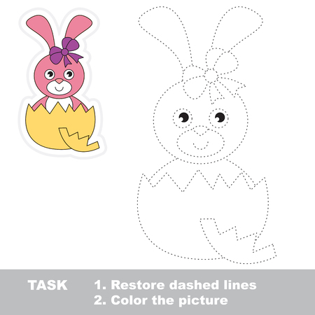 dashed line: Cute Bunny in vector to be traced. Restore dashed line and color the picture.