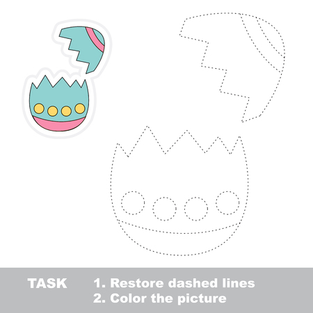 dashed: Eggshell in vector to be traced. Restore dashed line and color the picture. Illustration