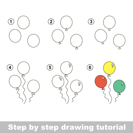 Visual game for kids. How to draw a Balloons