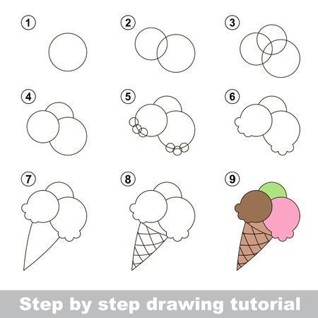 jeu visuel pour les enfants. Comment dessiner un Ice-cream