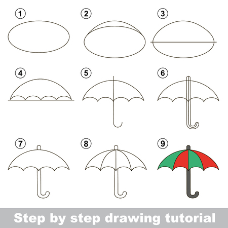 visual: Visual game for kids. How to draw a Umbrella