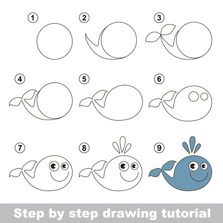 visual game for kids how to draw a funny whale stock vector 51515298