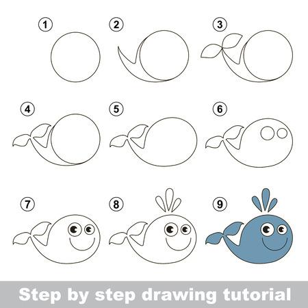 jeu visuel pour les enfants. Comment dessiner une baleine drôle