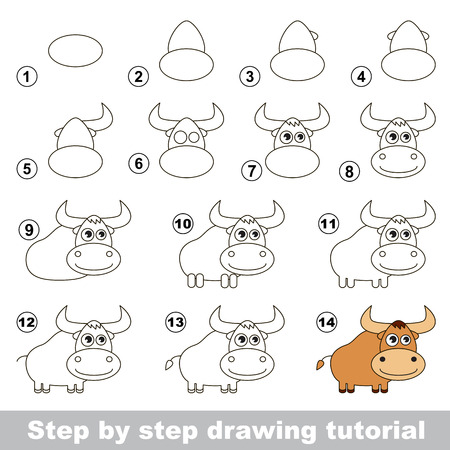 Visual game for kids. How to draw a Yak
