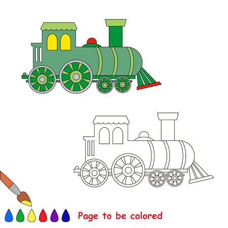visual: Locomotive to be colored. Coloring book for children. Visual game.