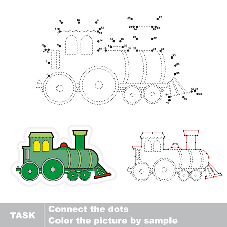 traced: Locomotive in vector to be traced by numbers. Vector visual game.