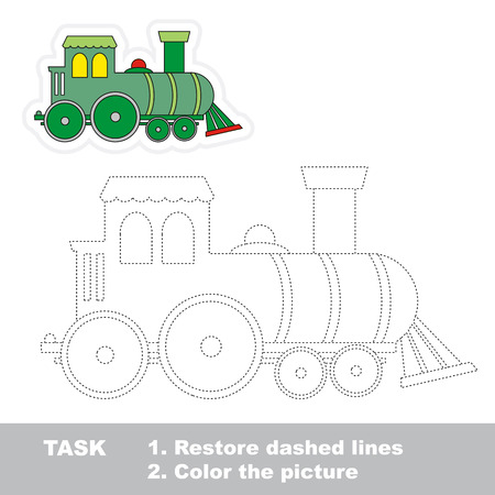 Locomotive in vector to be traced. Restore dashed line and color the picture. Ilustração Vetorial